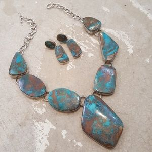 Jewelry - Huge Genuine Turquoise Necklace & Earring Set